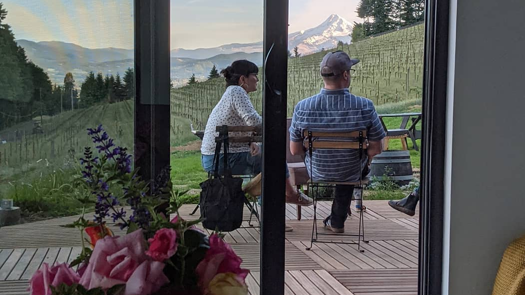 Guests enjoying the wine and the view